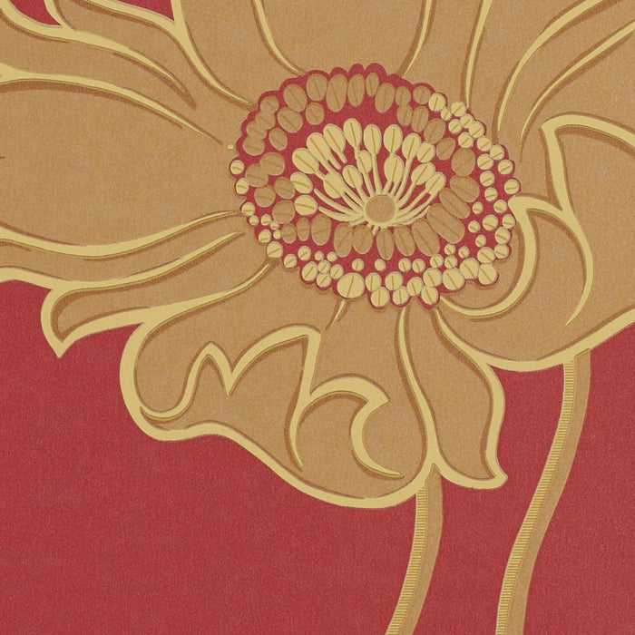 Designer Wallpaper Floral Avington Garnet Red
