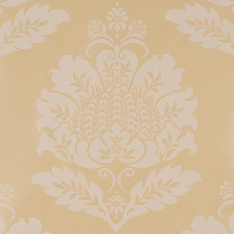 Designer Vinyl Wallpaper Roll - Medici Titian Motif Cream Gold -418996 - SAMPLE