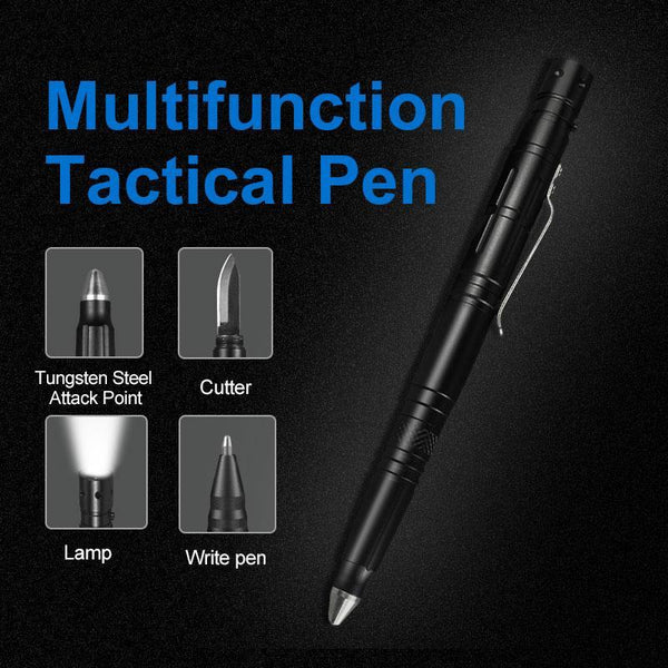 Tactical Self Defense Pen With Hidden Blade, LED Light, And Tungsten Steel Attack Point