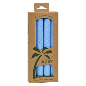 Aloha Bay - Palm Tapers - Light Blue Candles - Unscented - 4 Pack
