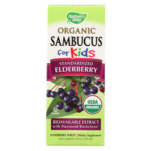 Nature's Way - Organic Sambucus For Kids - Elderberry Syrup - 4 Fl Oz