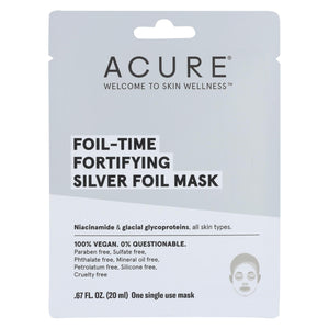 Acure - Mask - Foil - Time Fortifying Silver Foil Mask - Case Of 12 - 0.67 Fl Oz.