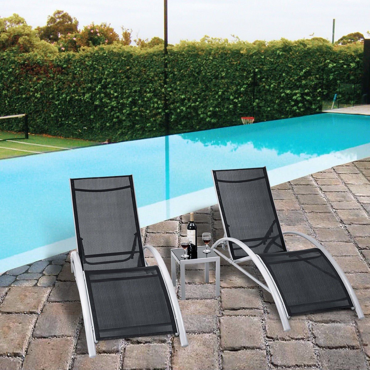 Pleasing Oasis Pool Lounger Chair Set With Glass Table Black Dailytribune Chair Design For Home Dailytribuneorg