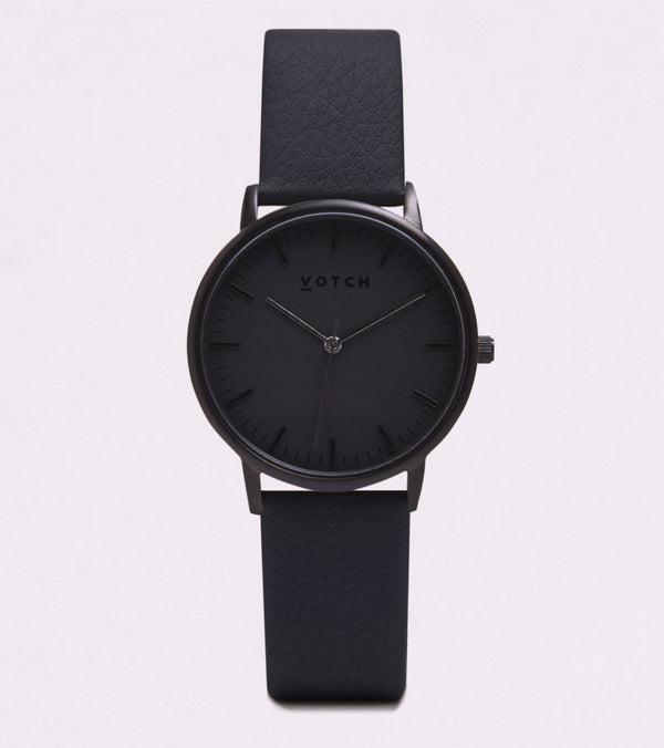 All Black & Black Strap - New Collection Vegan Leather - Vogue x Virtue - Votch