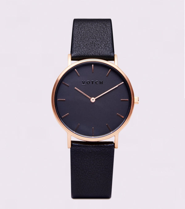 All Black & Rose Gold - Classic Collection Vegan Leather - Vogue x Virtue - Votch