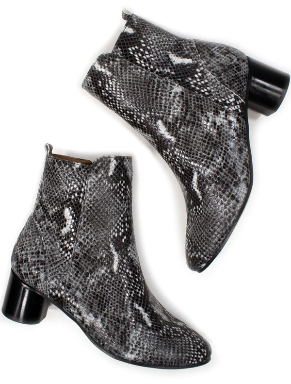 Ankle Boots - Vegan Snake Print - Vogue x Virtue - Will's Vegan Shoes