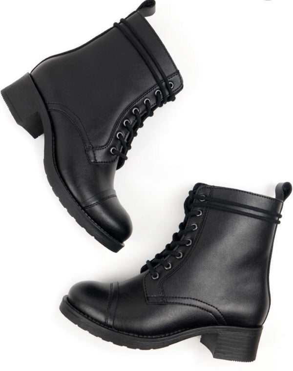 Aviator 2 Boots - Black Vegan Leather - Vogue x Virtue - Will's Vegan Shoes