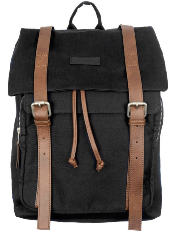 Black Duffle Backpack - Vegan Leather Straps - Vogue x Virtue - Will's Vegan Shoes