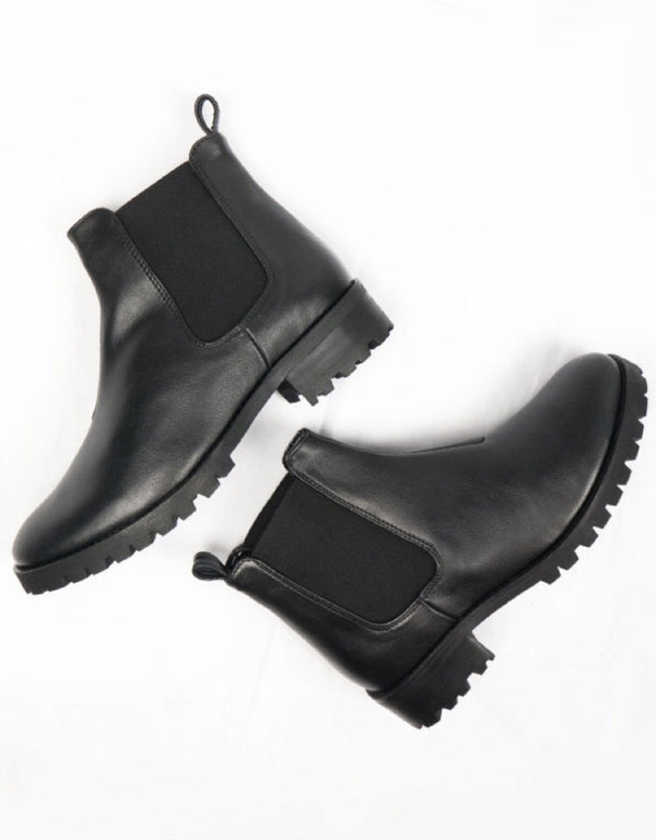 Chelsea Boot Deep Tread - Black Vegan Leather - Vogue x Virtue - Will's Vegan Shoes