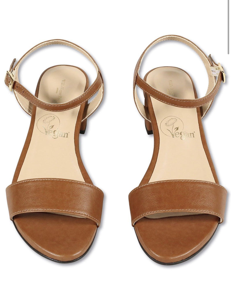 City Sandal - Vegan Brown Leather - Vogue x Virtue - Will's Vegan Shoes