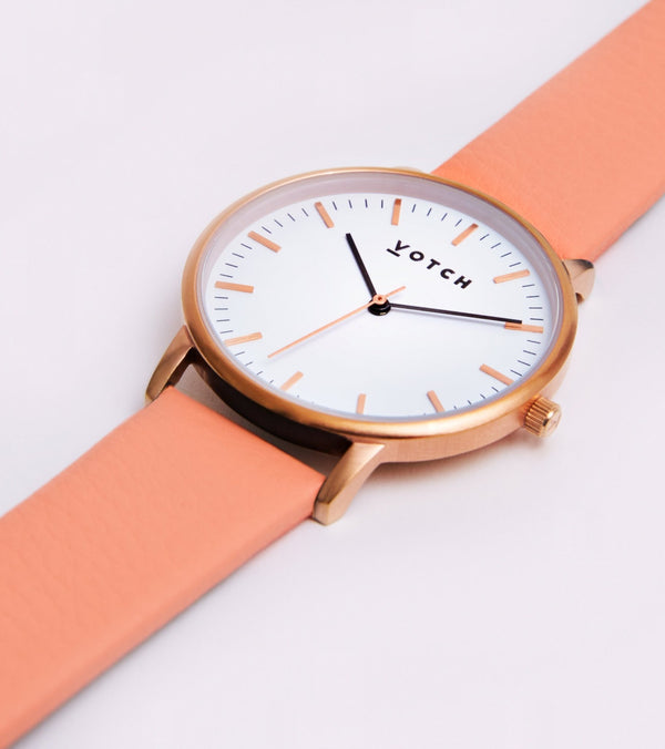Coral & Rose Gold - New Collection Vegan Leather - Vogue x Virtue - Votch