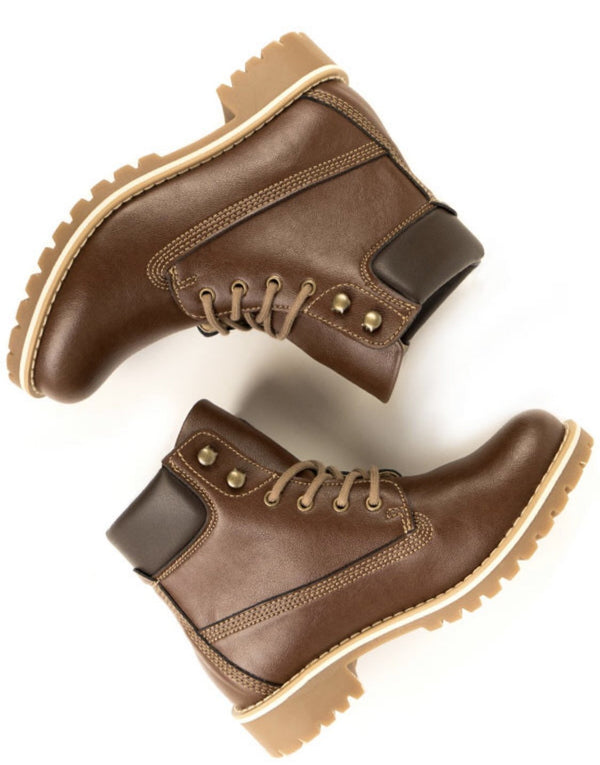 Dock Boots - Chestnut Vegan Leather - Vogue x Virtue - Will's Vegan Shoes