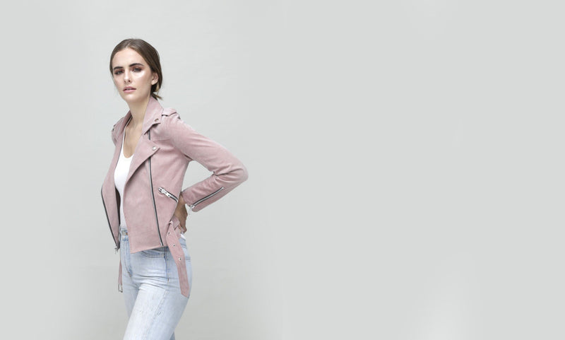 Faye Biker - Light Pink Vegan Suede - Vogue x Virtue - Dauntless Clothing