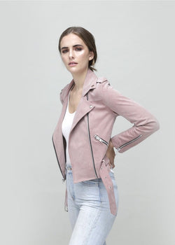 Faye Biker - Light Pink Vegan Suede Leather Jacket - Vogue x Virtue - Dauntless Clothing