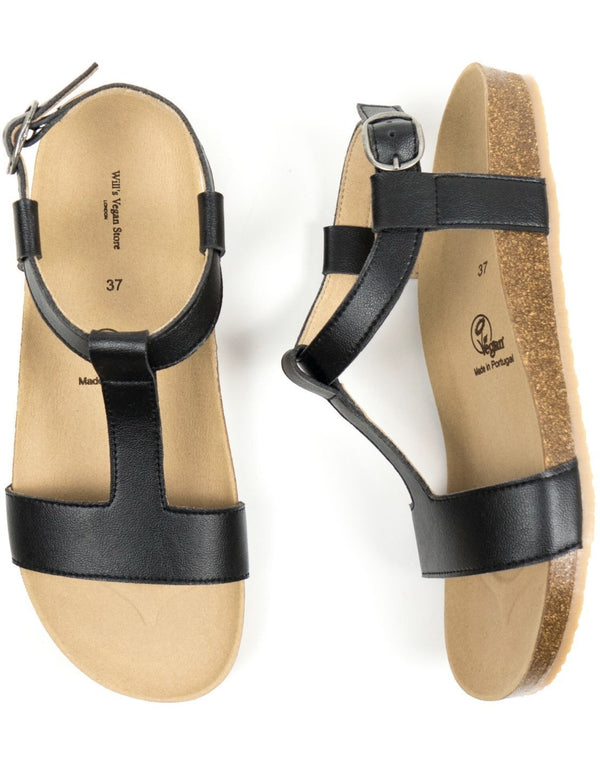 Footbed Sandals - Black Vegan Leather - Vogue x Virtue - Will's Vegan Shoes