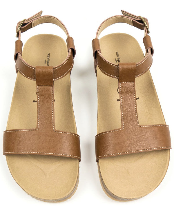 Footbed Sandals - Tan Vegan Leather - Vogue x Virtue - Will's Vegan Shoes