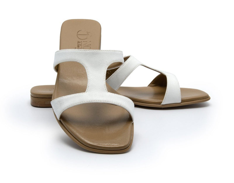 Letizia Suede - White Vegan Sandals - Vogue x Virtue - NOAH Italian Shoes