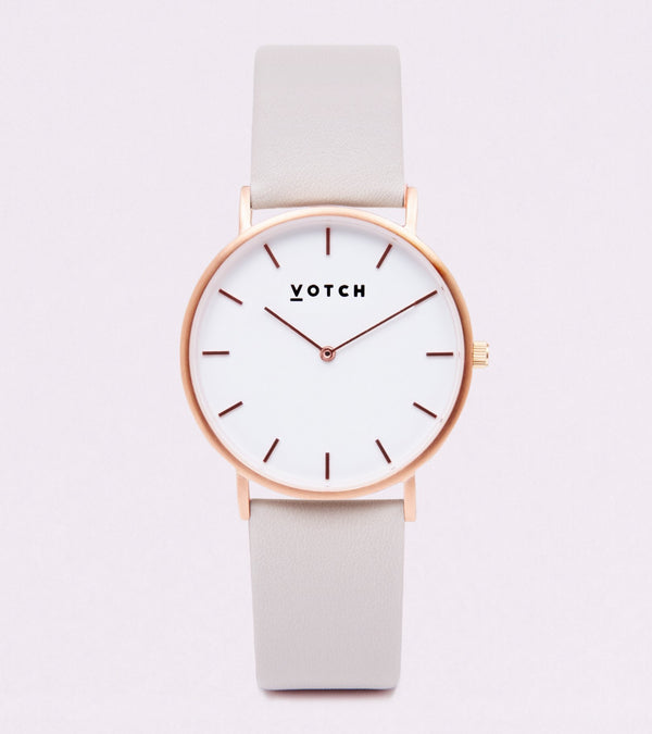 Light Grey & Rose Gold | Classic Collection Vegan Leather - Vogue x Virtue - Votch