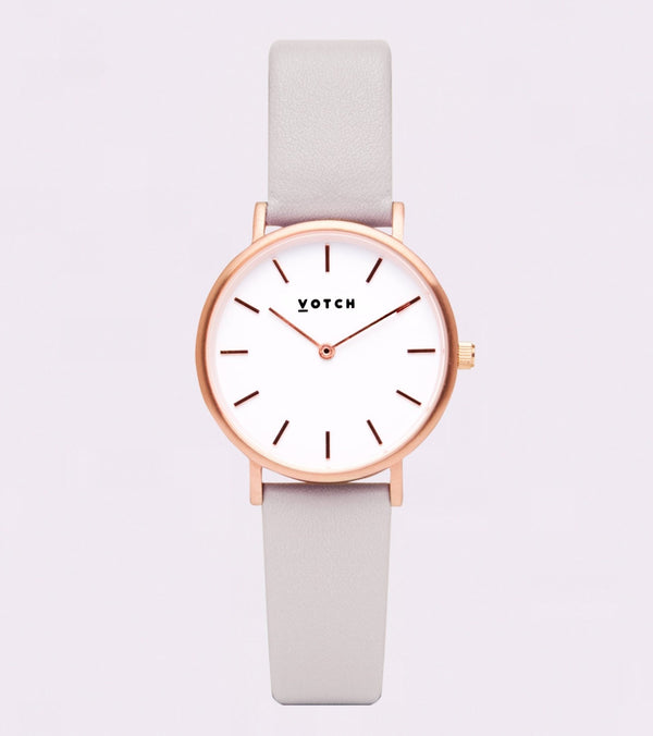 Light Grey & Rose Gold Petite - Classic Collection Vegan Leather - Vogue x Virtue - Votch