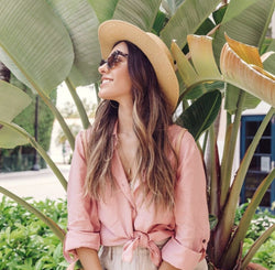 Sustainable Fashion - Lola Linen Button Down Shirt - Pink - Vogue x Virtue - Sunday's