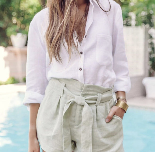 Lola Linen Button Down - White - Vogue x Virtue - Sunday's