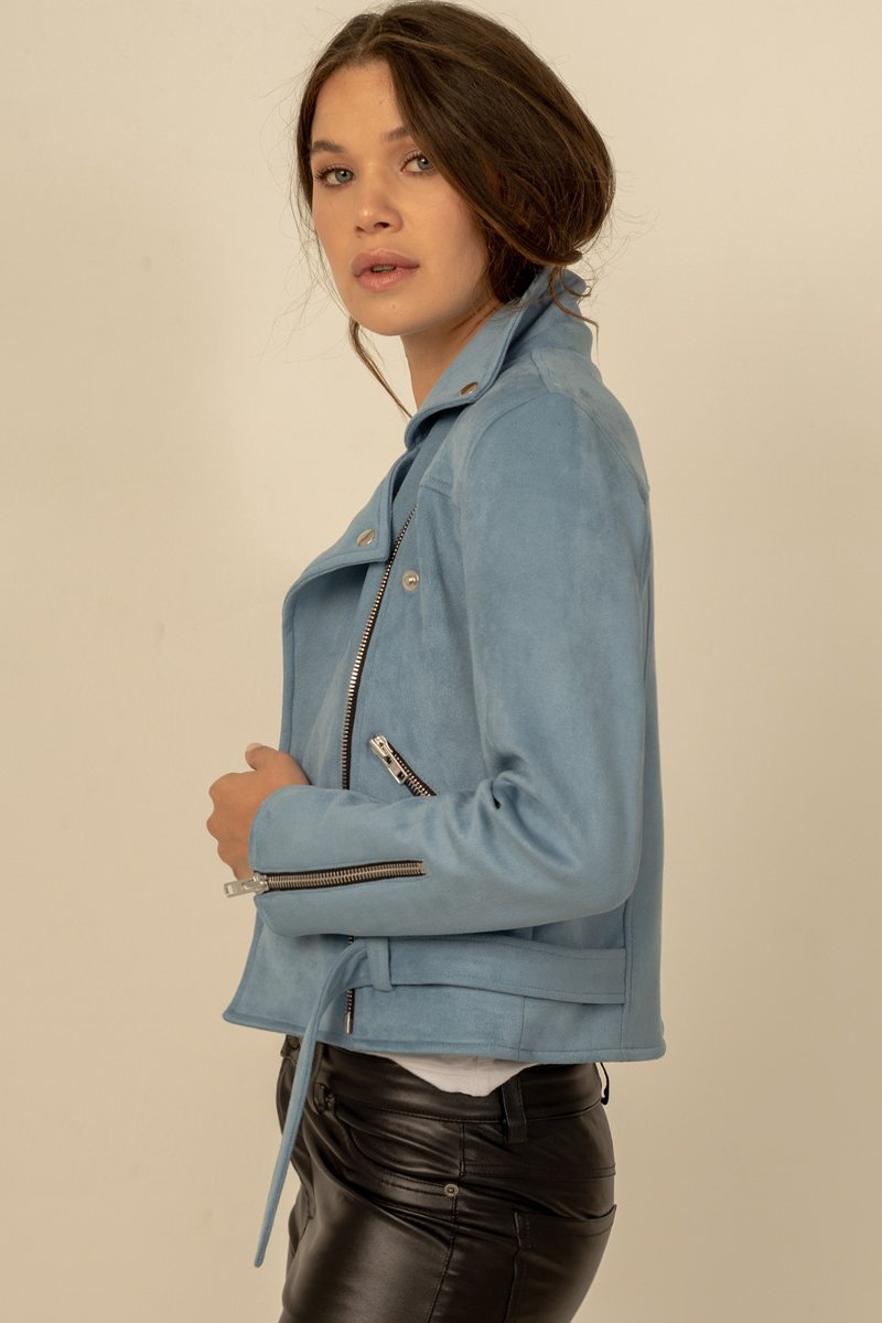 Mara Biker - Chambray Blue Vegan Suede Jacket - Vogue x Virtue - Dauntless
