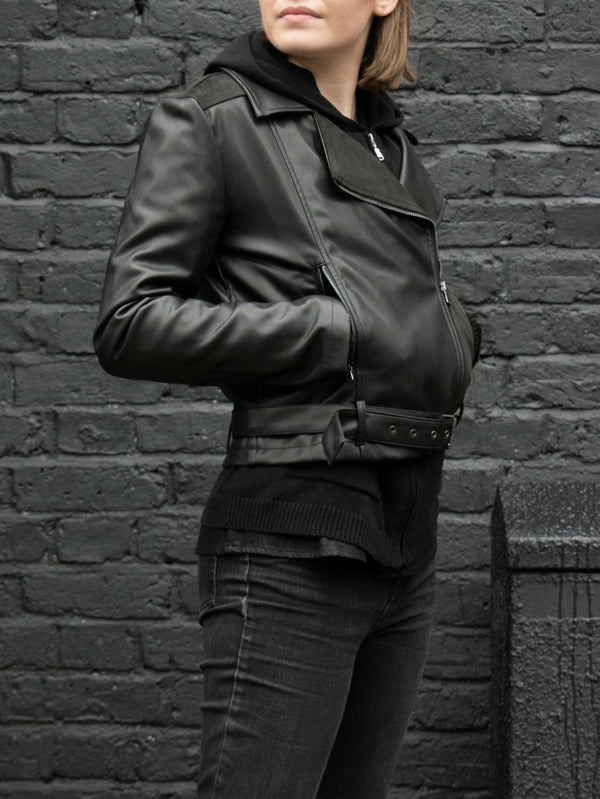 Moto Jacket - Black Vegan Leather - Vogue x Virtue - Will's Vegan Shoes