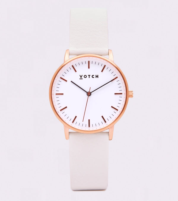 Off White & Rose Gold - New Collection Vegan Leather - Vogue x Virtue - Votch