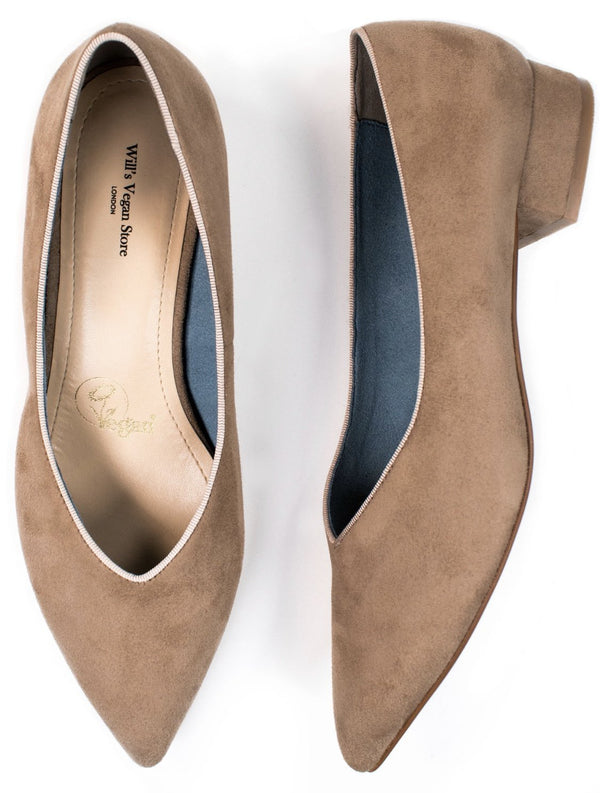 Point Flats - Stone Vegan Suede - Vogue x Virtue - Will's Vegan Shoes