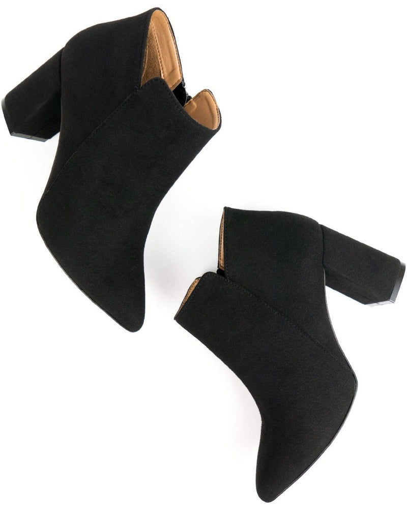 Point Toe Boots - Black Vegan Suede - Vogue x Virtue - Will's Vegan Shoes