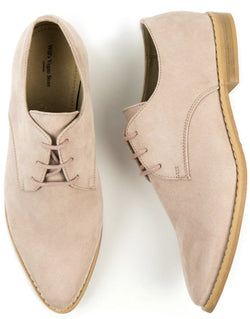 Point Toe Derby's - Light Pink Vegan Suede - Vogue x Virtue - Will's Vegan Shoes
