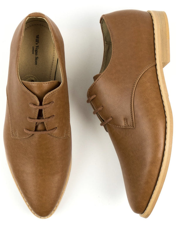 Point Toe Derby's - Tan Vegan Leather - Vogue x Virtue - Will's Vegan Shoes