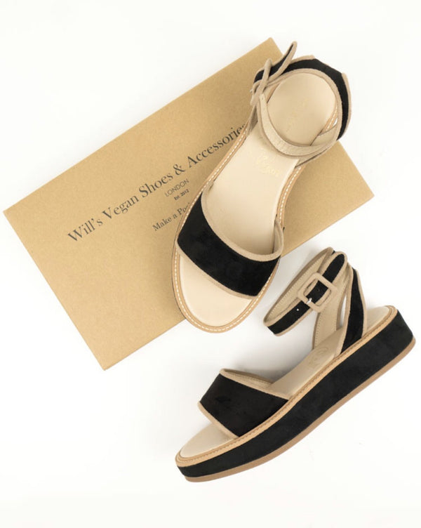 Sandals - Black and Beige Vegan Leather - Vogue x Virtue - Will's Vegan Shoes