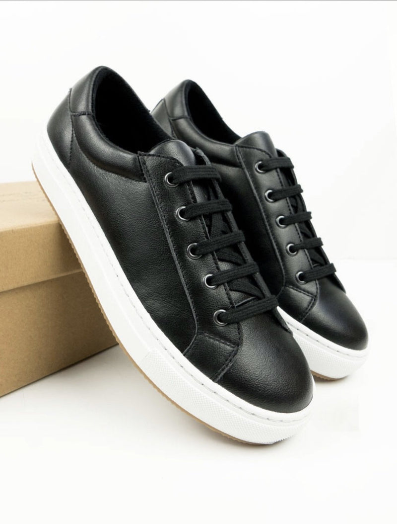 Smart Sneakers - Black Vegan Leather - Vogue x Virtue - Will's Vegan Shoes