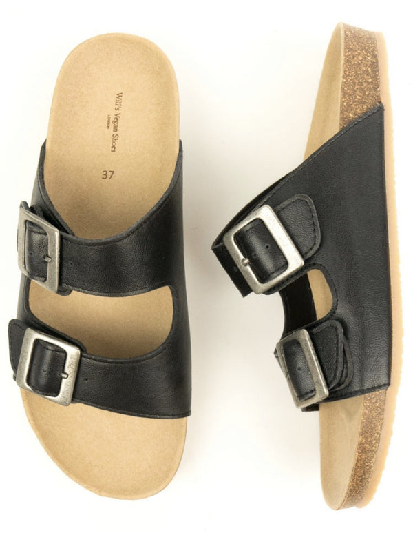 Two Strap Footbed Sandals - Vegan Leather - Vogue x Virtue - Will's Vegan Shoes