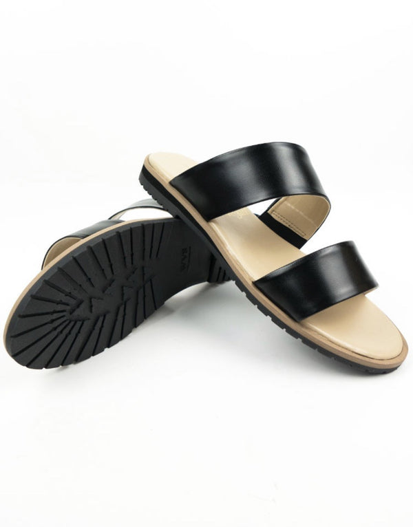 Two Strap Sandals - Black Vegan Leather - Vogue x Virtue - Will's Vegan Shoes