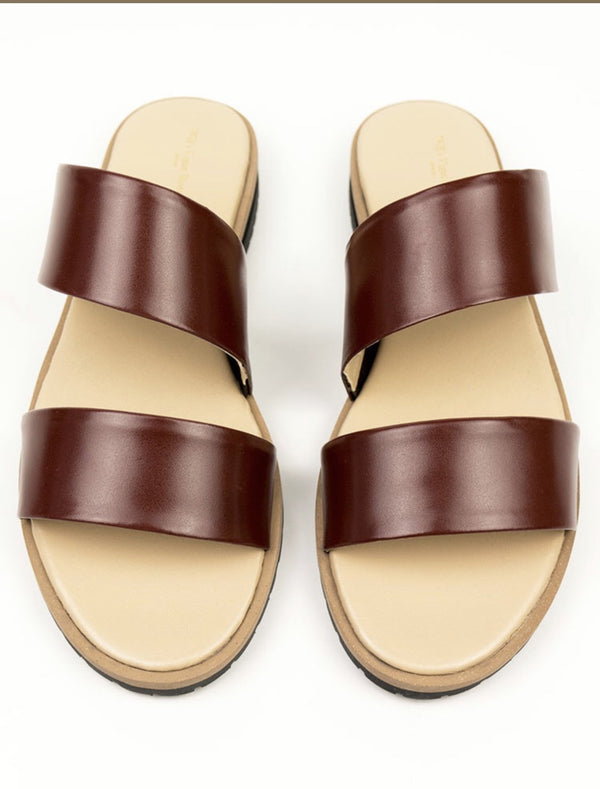 Two Strap Sandals - Brown Vegan Leather - Vogue x Virtue - Will's Vegan Shoes