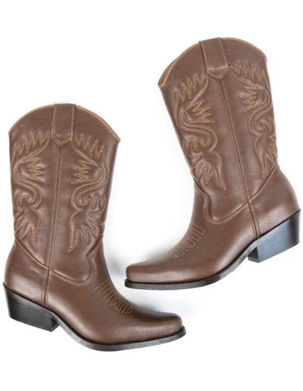 Western Boots - Chestnut Vegan Leather - Vogue x Virtue - Will's Vegan Shoes