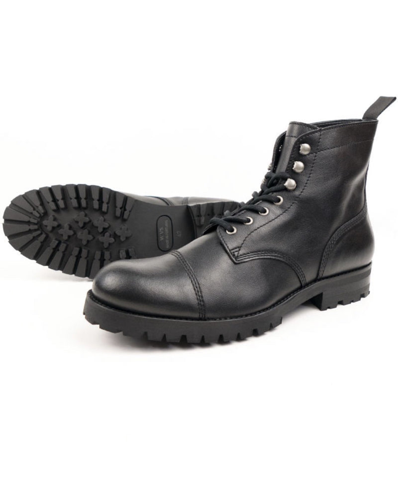 Work Boots - Black Vegan Leather - Vogue x Virtue - Will's Vegan Shoes