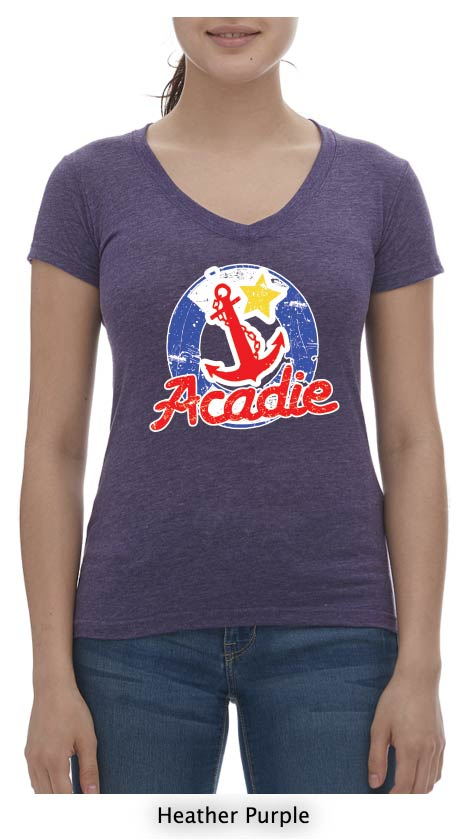 Acadian T-Shirt Ladies V Neck