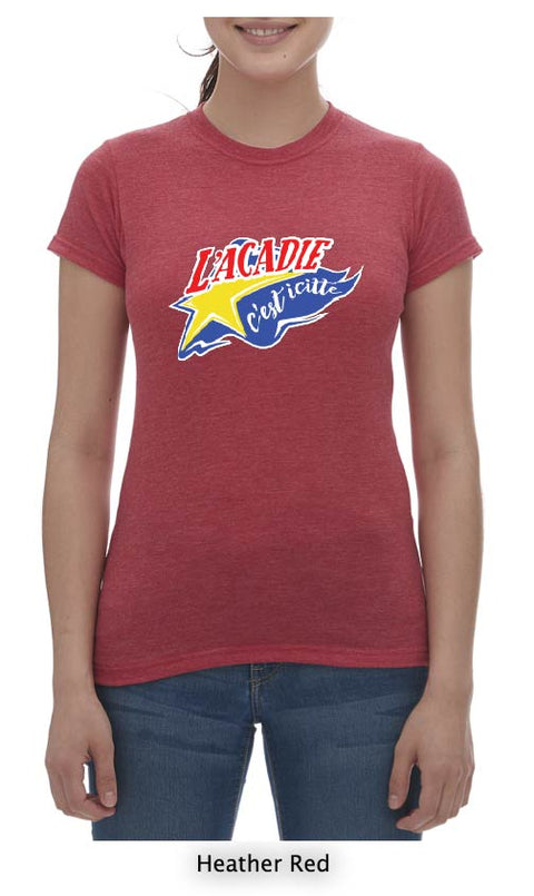L'acadie c'est icitte T-Shirt Ladies Crew Neck