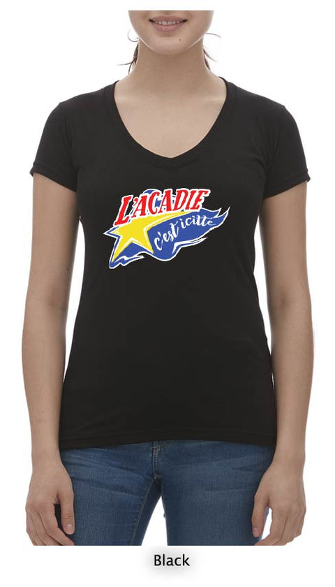 L'acadie c'est icitte T-Shirt Ladies V Neck