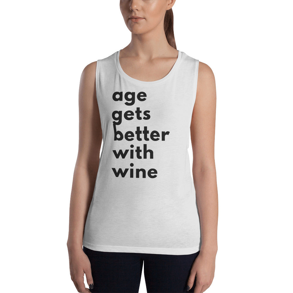 Age get better with wine t-shirt