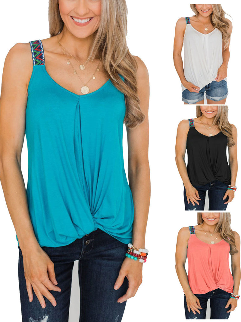 Solid V Neck Sleeveless Twisted Loose Tank Top