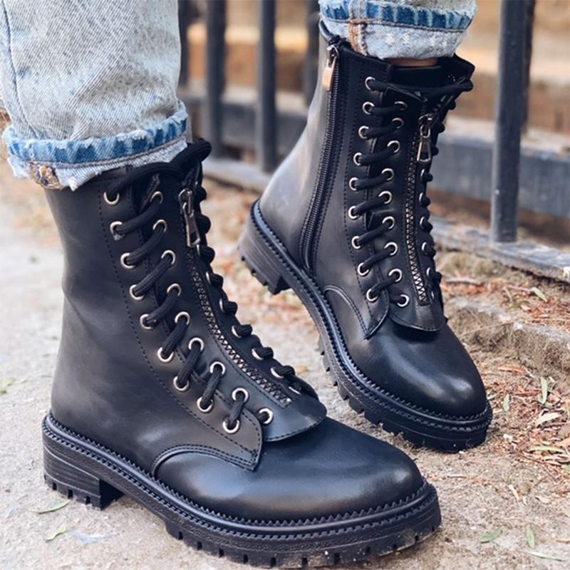 Chic Durable Low-heel Lace-up Martin Boots