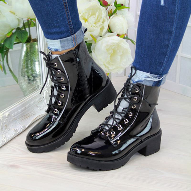 Classic Lace-up Low-heel Martin Boots