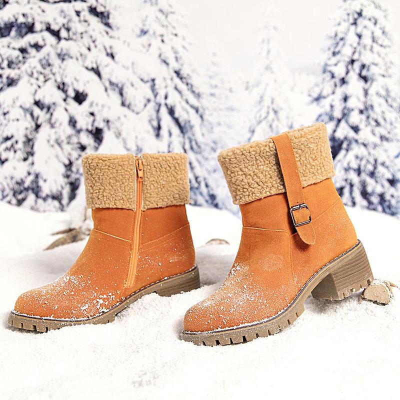 Winter Chunky Heel Round Toe Boots