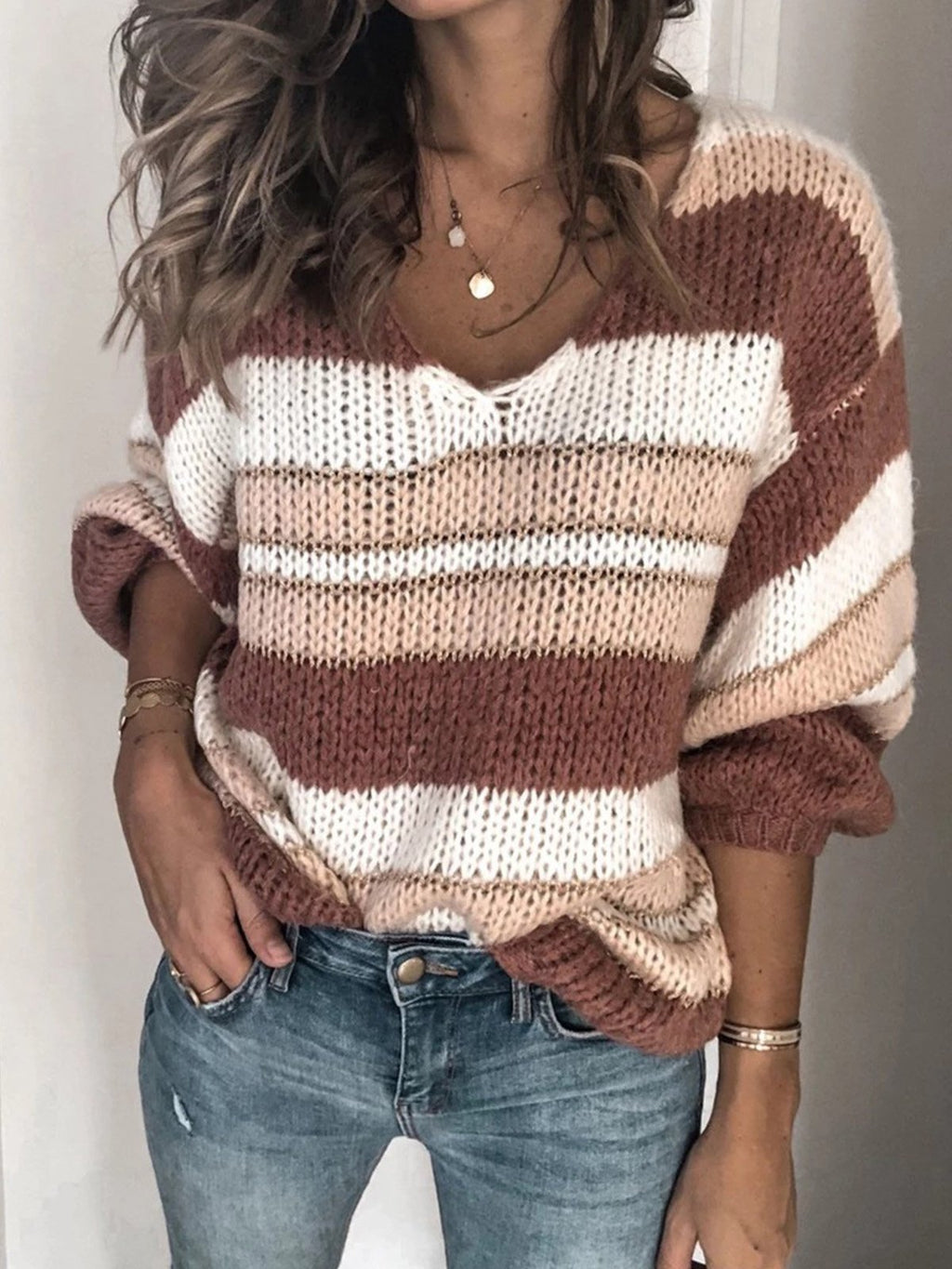 Multicolor Stripe V Neck Loose Sweater