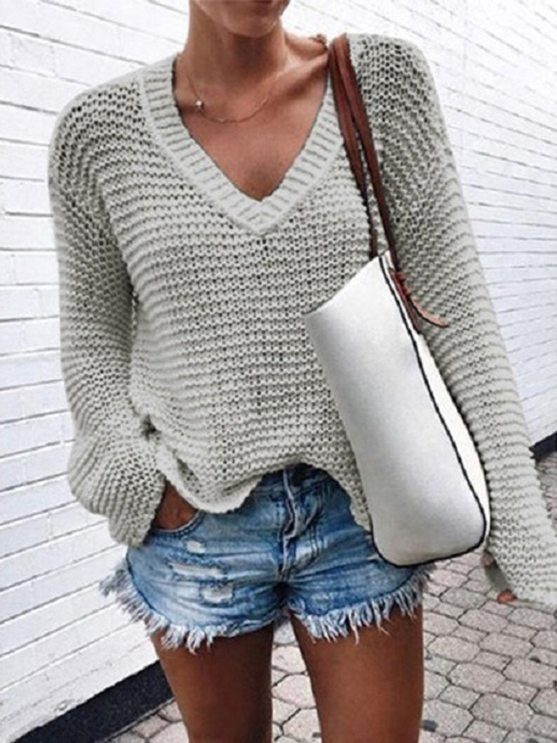 Plus Size V Neck Loose Hollow Sweater Top