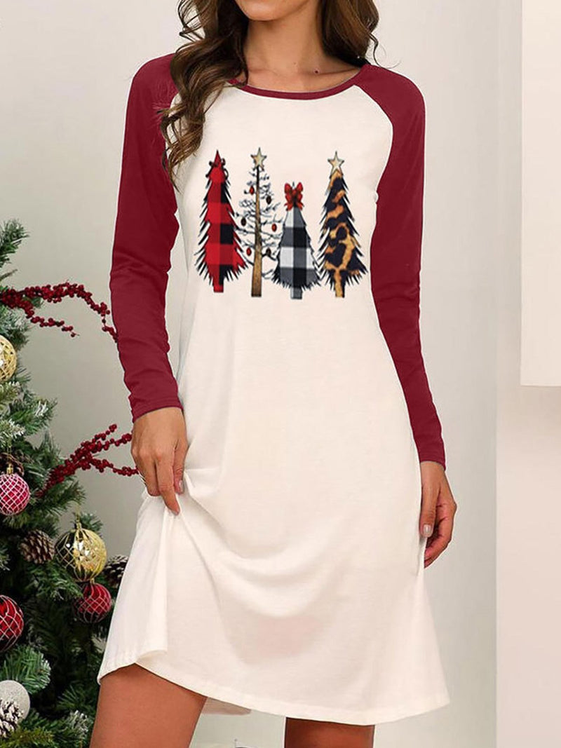 Mid-length Dress with Christmas Tree Print